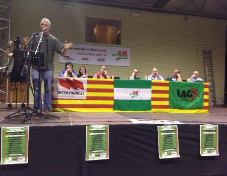 Acte contra la repressió sindical celebrat a Barcelona