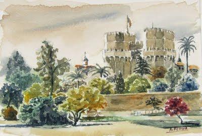 Una de les obres de l'aquarel·lista Antonio Medina (Torres de Serrans)