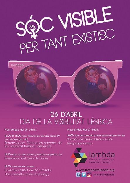 Cartell de LAMBDA València, amb les activitats previstes per al dia 26 d'abril