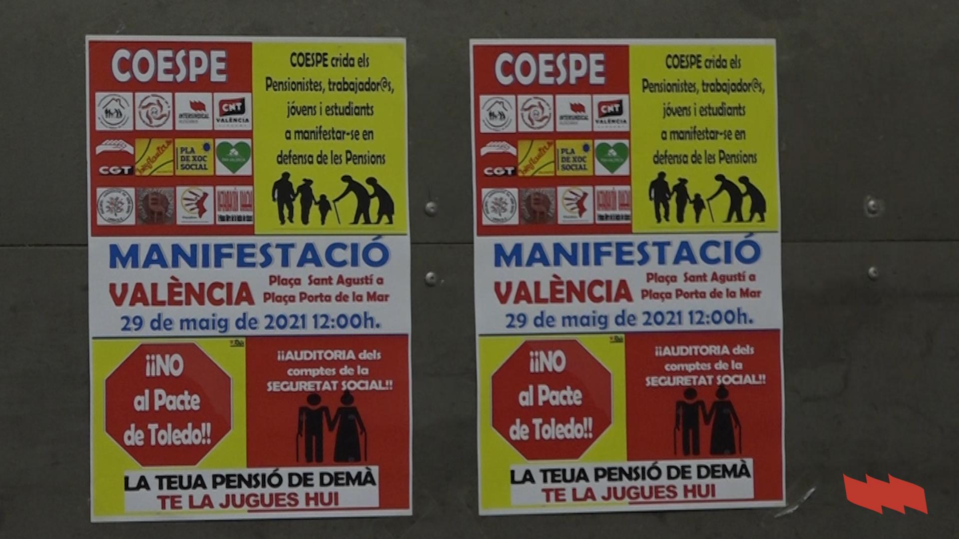 Dissabte 29 de maig a les 12.00: Manifestació a València per unes pensions públiques dignes