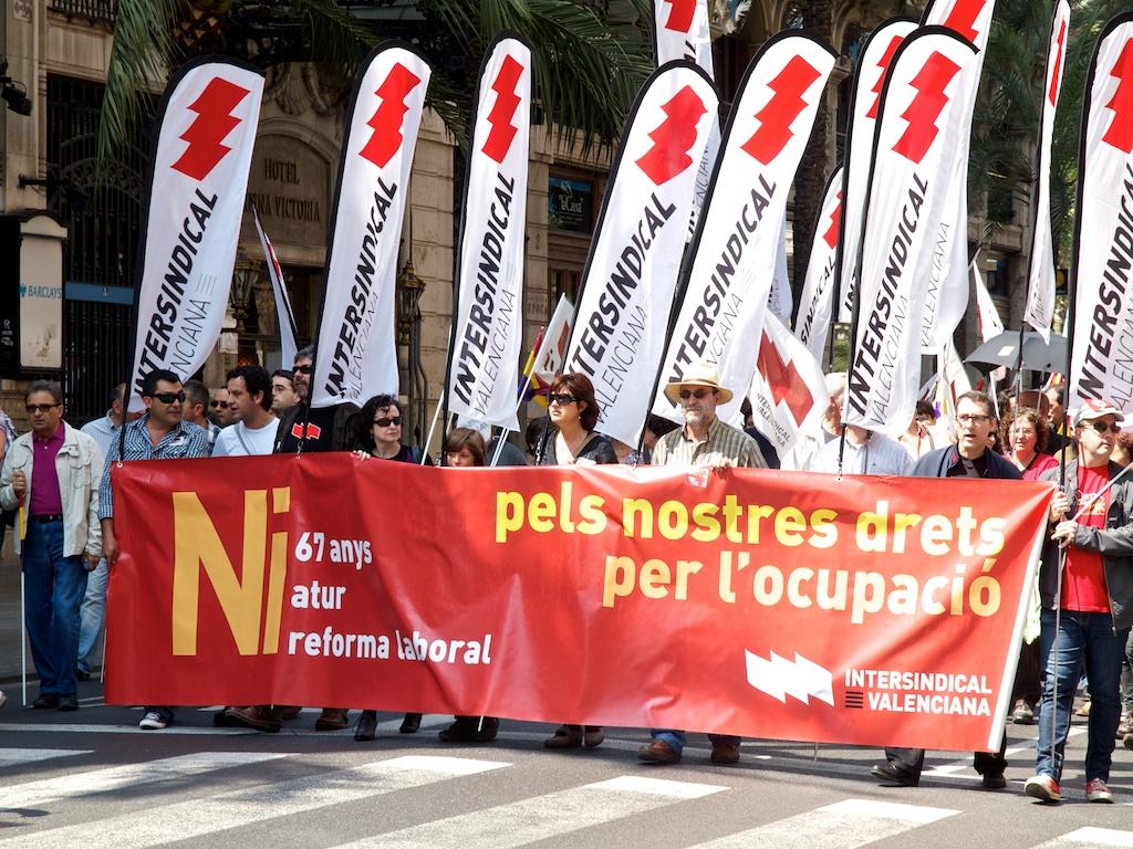 Manifestació en València del 1r. de maig.