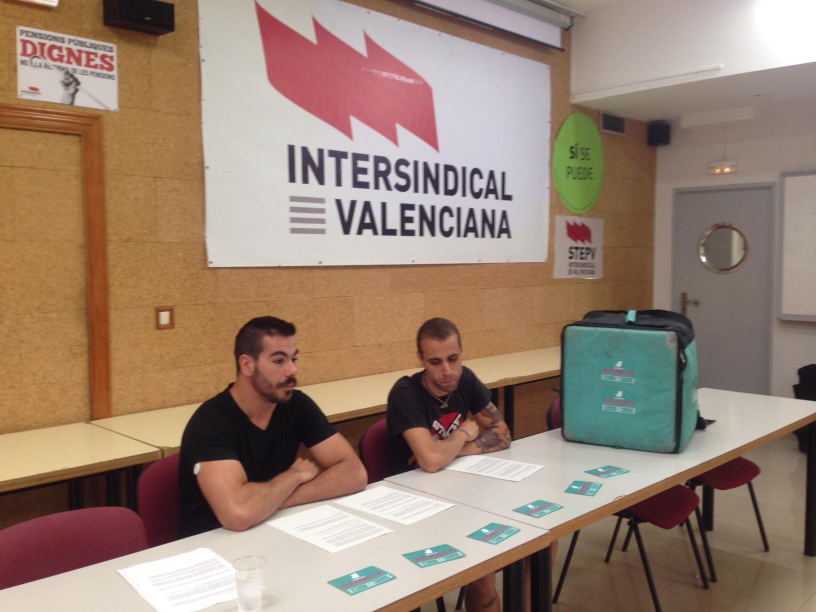 Imatge d'arxiu d'una roda de premsa de riders a la Intersindical Valenciana