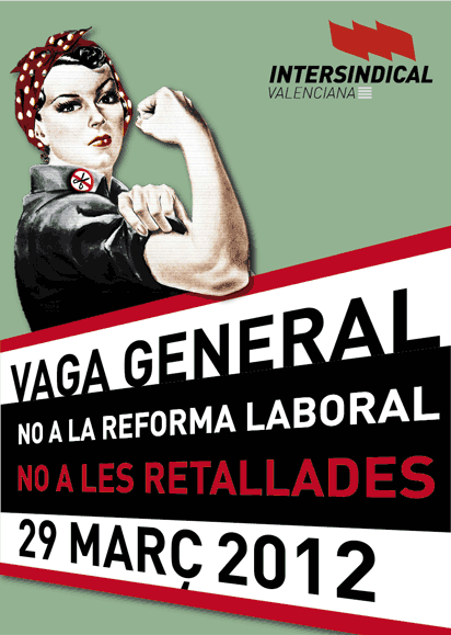 Cartell de la Vaga del 29-M d'Intersindical Valenciana.