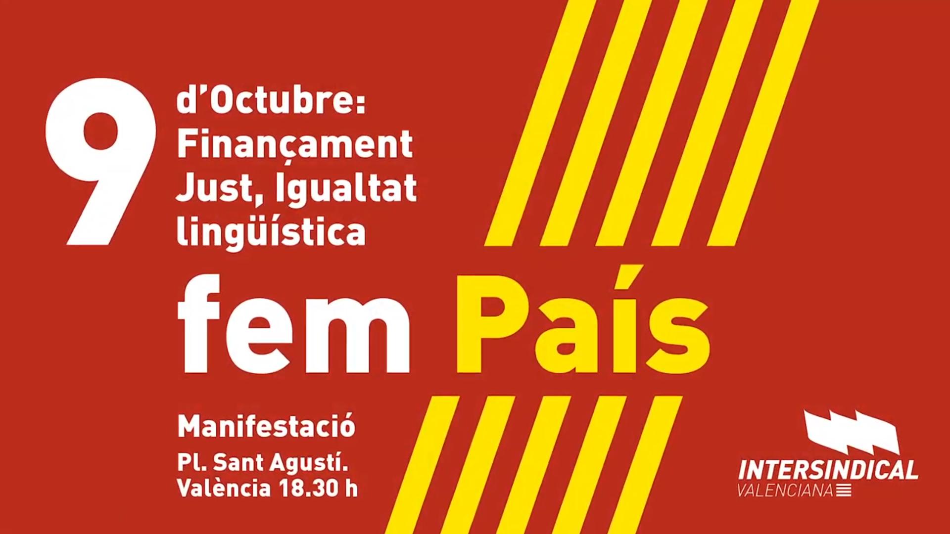Manifestació 9 d'octubre 'Finançament just, Igualtat lingüística'