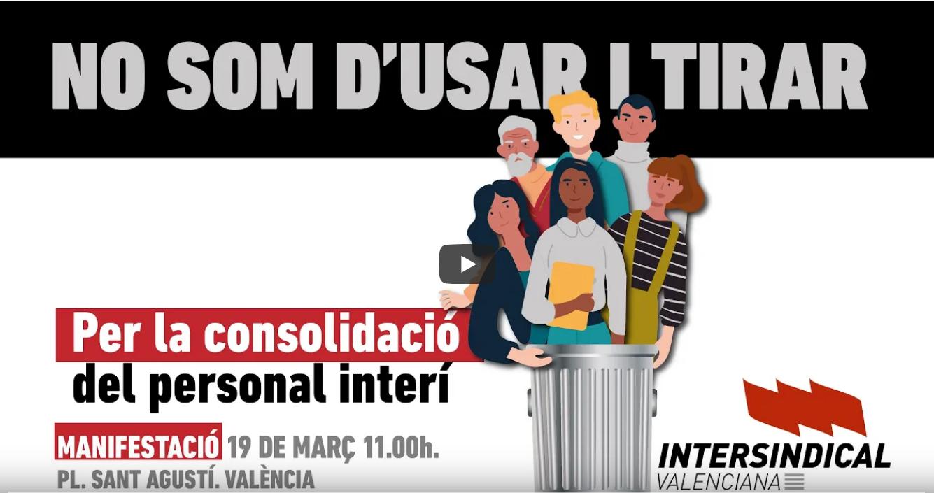 Per la consolidació del personal interí' Manifestació 19 de març a València
