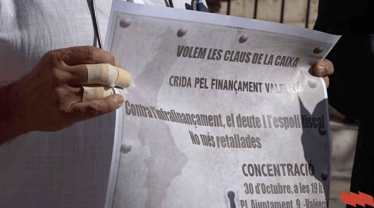 'Contra l'infrafinançament, el deute i l'espoli fiscal' 30 d'octubre, concentració a València
