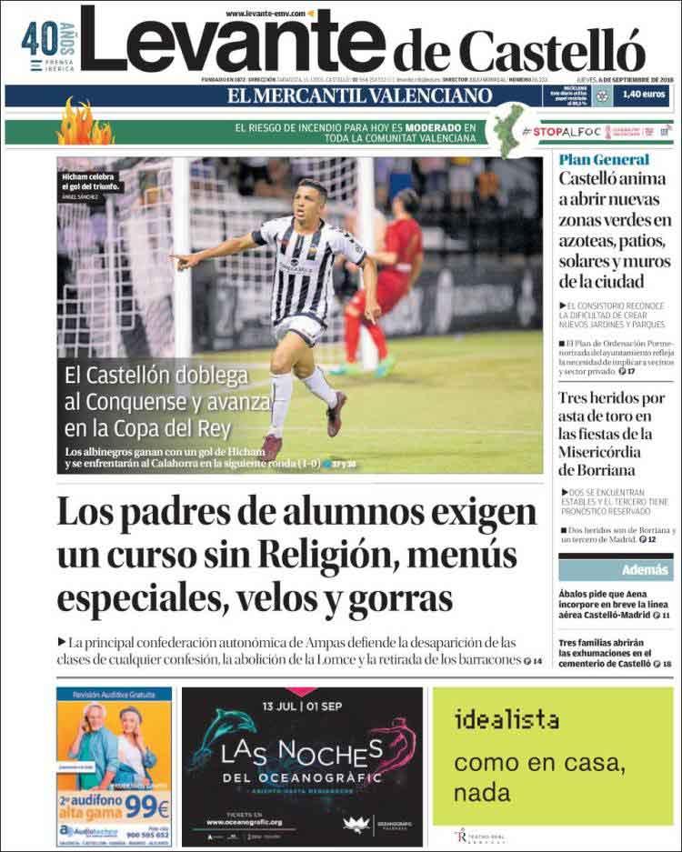 Una portada del diari Levante de Castelló.