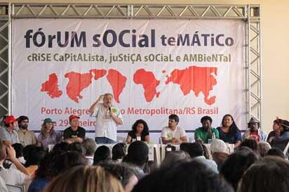 Assemblea dels Moviments socials el 28 de gener a Porto Alegre (Brasil).