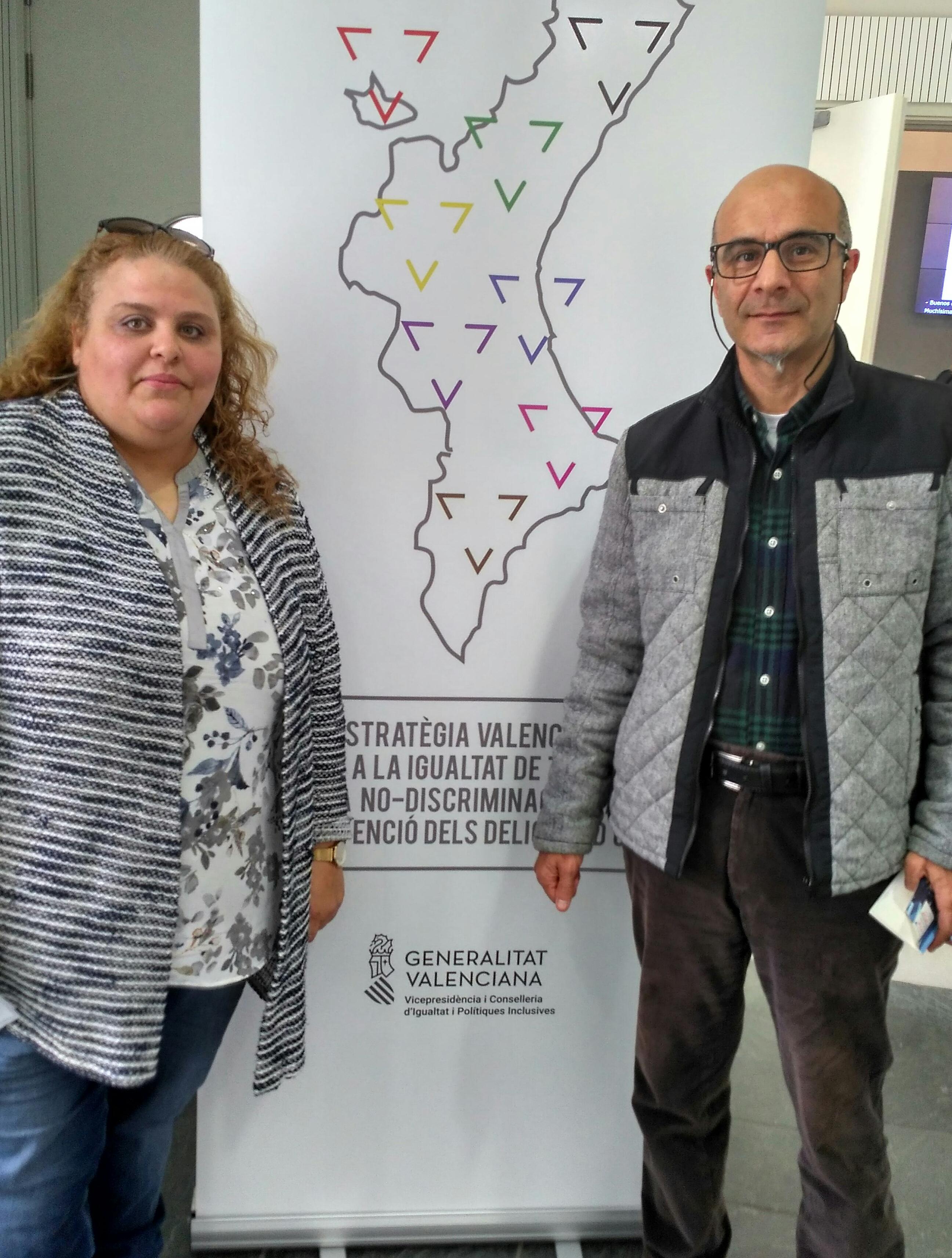 Boutaña Al Hadri i el coordinador del Grup de Politiques Socials de IV