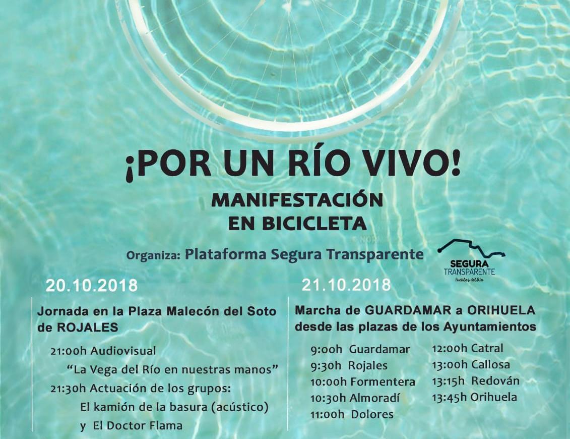 Cartell de la manifestació en bicicleta: 'Per un riu viu!'