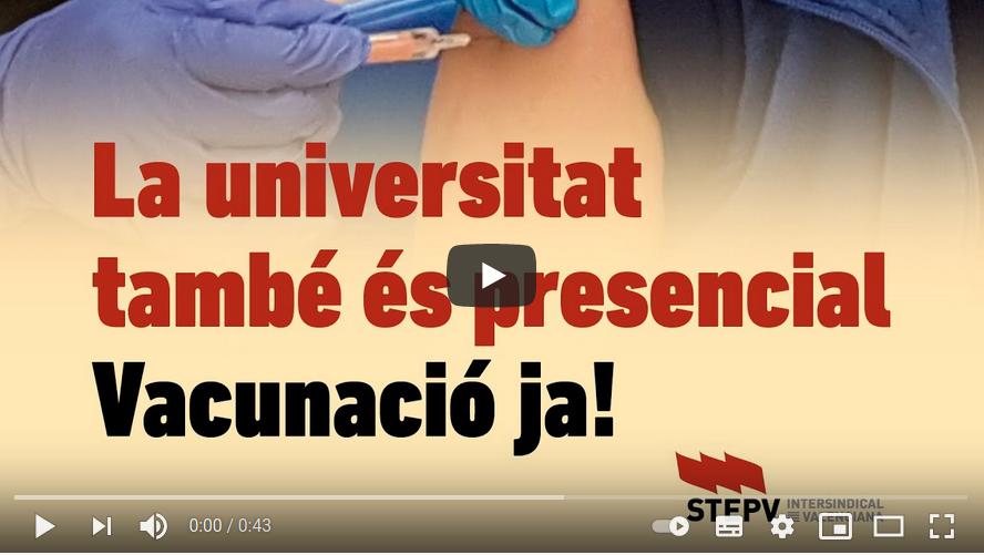 A les universitats, vacunació ja!
