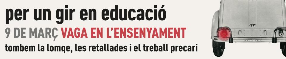banner per un gir en educació vaga 9-M