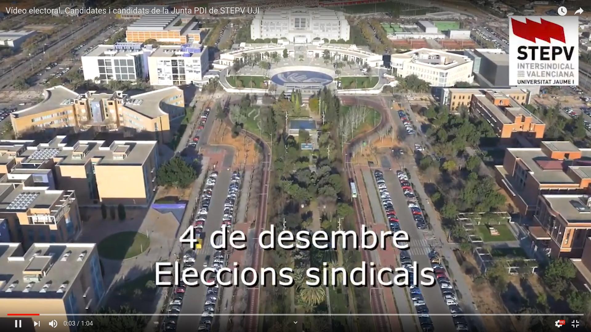 Vídeo electoral. Candidates i candidats de la Junta PDI de STEPV UJI