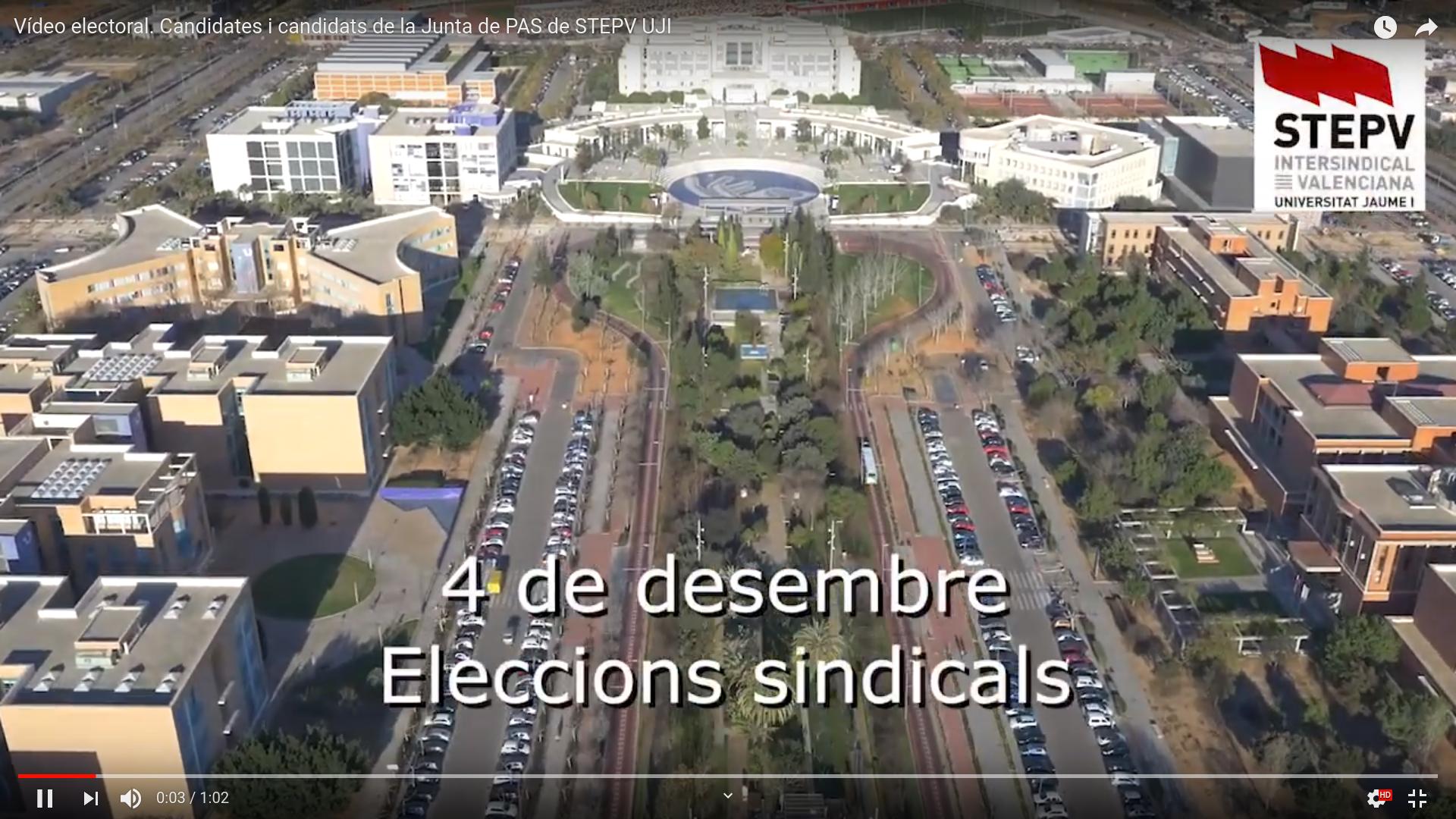 Vídeo electoral. Candidates i candidats de la Junta de PAS de STEPV UJI