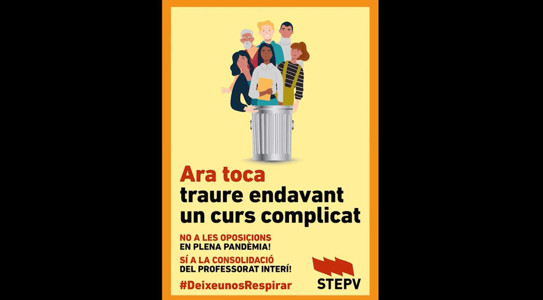 STEPV s'oposa a les oposicions en temps de pandèmia